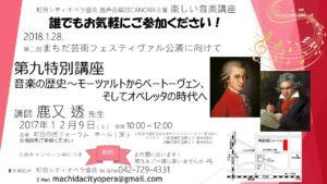 東京 町田シティオペラ協会 楽しい音楽講座 特別講座 音楽の歴史~モーツァルトからベートーヴェン、 そしてオペレッタの時代へ